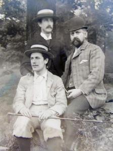 Three Edwardian gents, from a glass neg bought at Ardingly Antiques fair in 2015.  £2  !!